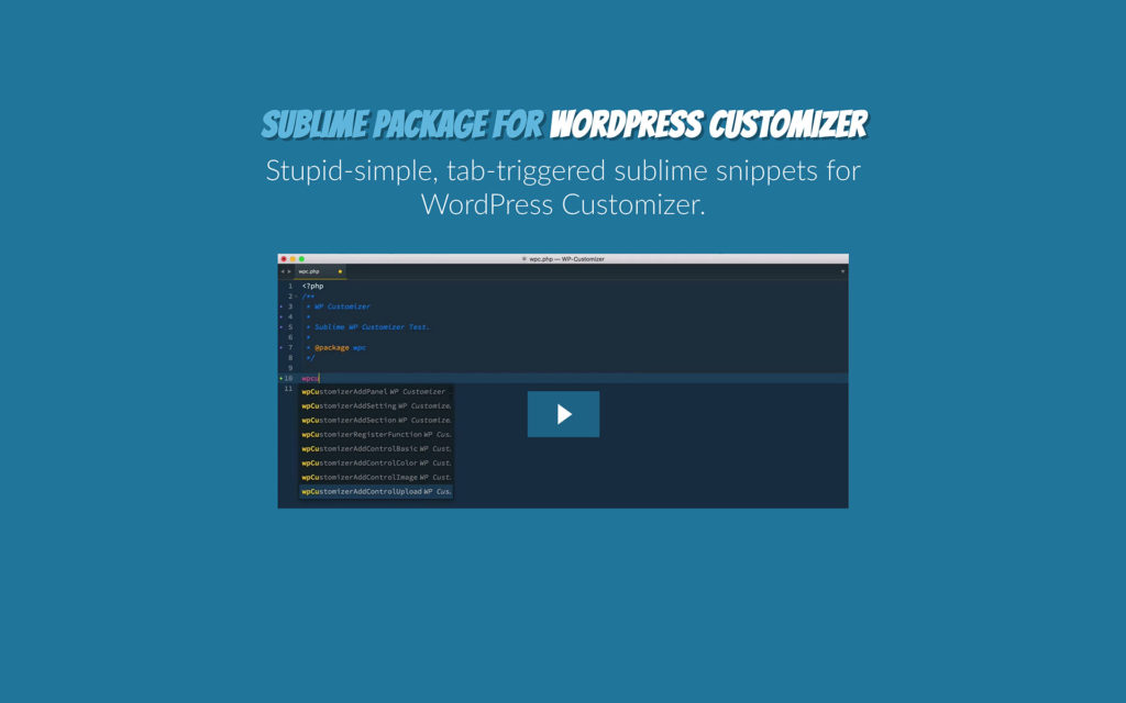 Sublime-WP-Customizer-Package